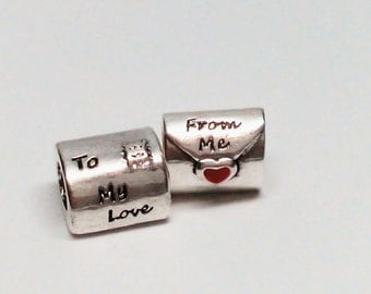 New Authentic Pandora Sterling Silver Love Letter Mail with Red Heart Bead charm 790894EN09