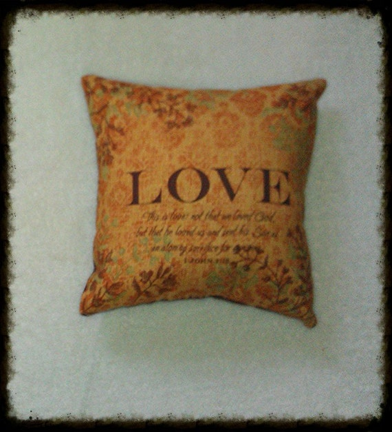 Decorative Pillows With Scripture : Decorative Pillow Love with Bible Verse