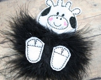 Cow Marabou Puff Feltie Embroidery Machine Design for the 4x4 hoop