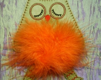FELTIE SALE!   Owl Marabou Puff Feltie Embroidery Machine Design for the 4x4 hoop