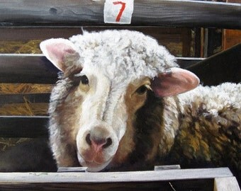 Sheep in a Barn - Ewe's There? Safe in the Barn. - Original Acrylic Painting