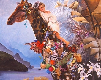 Greeting Card, Giraffe, Child's Birthday Card, Birthday Party, Animal Blank Card