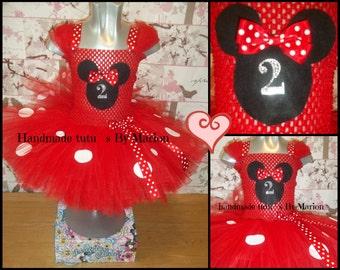 Minnie Mouse, Red Birthday tutu dress knee length