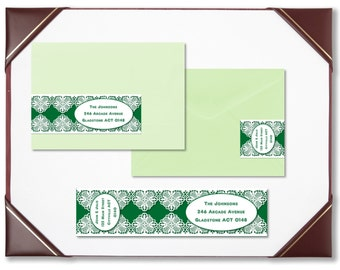 Envelope wraps emerald lace wraparound address labels personalised labels invitations wedding engagement bridal shower baby shower