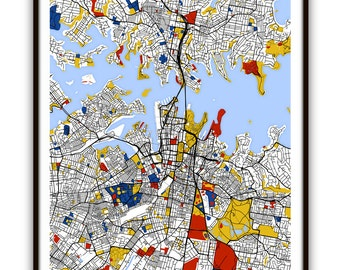 Sydney Map Art / Sydney, Australia Wall Art / Print / Poster / Modern Home Decor