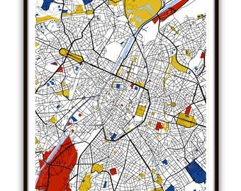 Brussels Map Art / Brussels, Belgium Wall Art / Print / Poster / Modern Home Decor