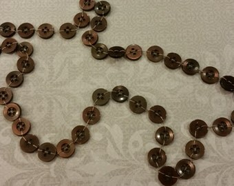Hand knotted button Necklace in Rich Coffee Brown with a Copper Iridescent shine