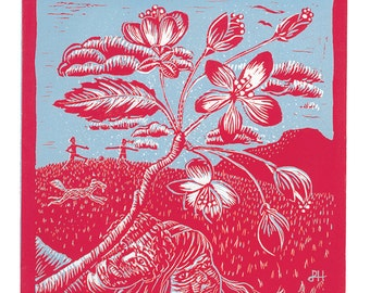 "Original Limited Edition A2 Lino Print 2 colour ""Blossoms"""