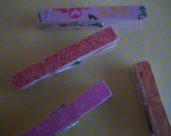4 Pink/ Orange Decorated clothespins