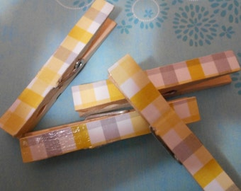 Grey and Yellow Decorated Clothespins 4 pack