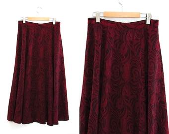 Vintage skirt. Red + Black. Long skirt. High waist skirt.