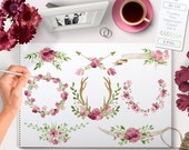 Flower Watercolor Clipart Wreaths Pink, Laurels, Wedding images, Ampersand, Antlers, Horns, Arrow perfect for Floral wedding invitations