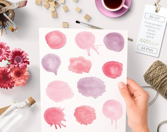"""Watercolor clipart circles (44 pc) pink purple red """"rosegarden"""". hand painted for logo design, blogs, making cards, printables wall art etc"""