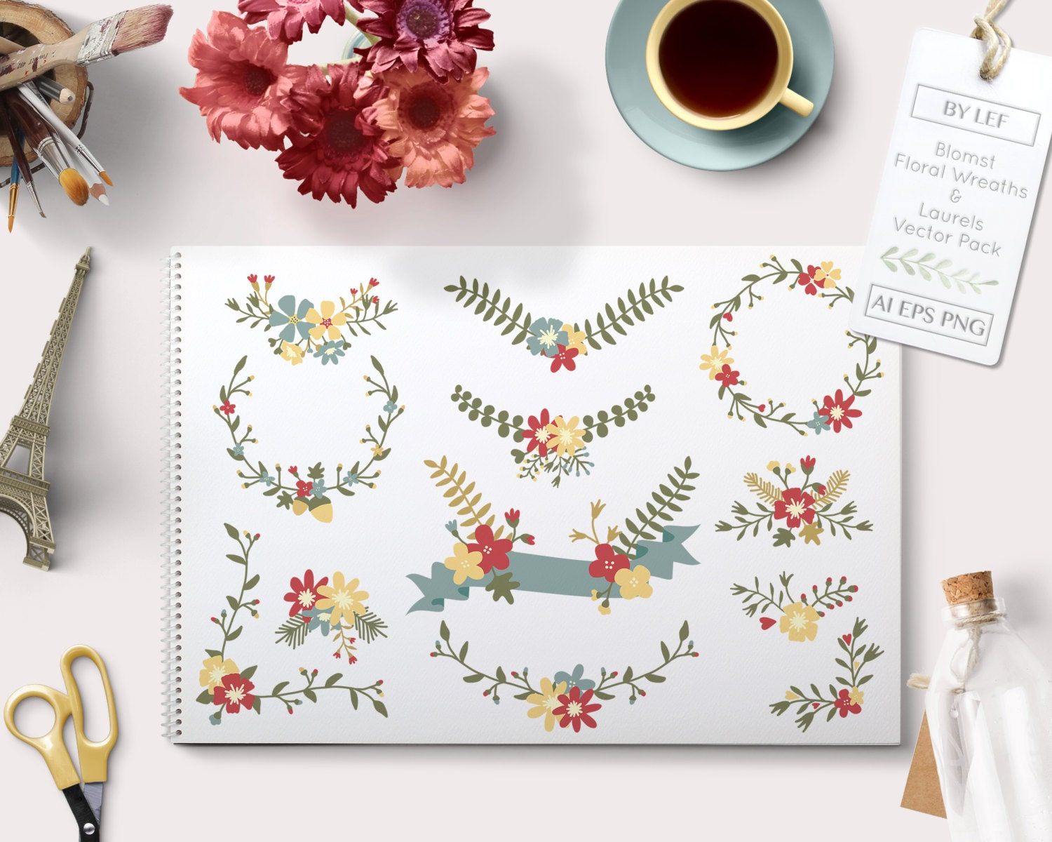 Flower Vector Graphics. PNG EPS and AI wedding floral vector frames ...