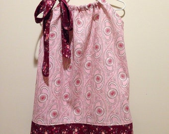 Lovely Pink and Maroon Flowered Pillowcase Dress 2T