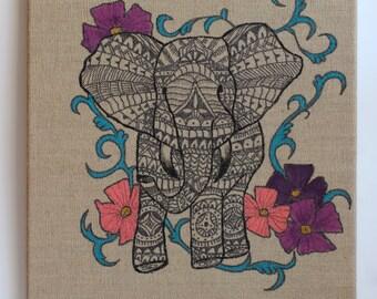 Indian Elephant on Burlap