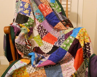 Leftover Fabrics Multicolor Small Block Patchwork Twin Size Quilt