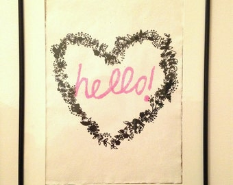 Hello! paper screen print