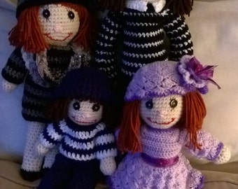 crochet rag dolls family. 15.00 per doll!!