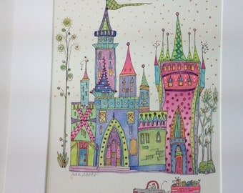 "Original watercolor painting ""Children's Castle"" by California artist Joan Sachs, 8x10 with a mat 11x14."