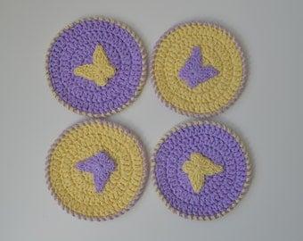 Cotton Lavender and Yellow Crochet Coasters with Butterfly - Set of 4