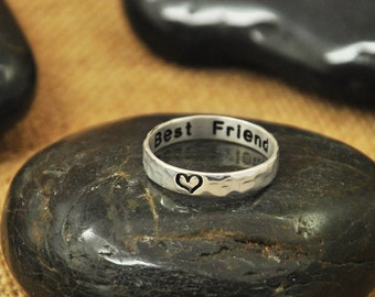 Personalized Ring  925 sterling silver Jewelry - Engraved Ring Best Friend Ring Hammered Heart Ring Tiny Ring Gift for Mom