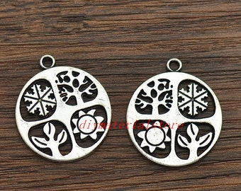 5 - Four Seasons Charms Round Shape Antique Silver Tone Pendant 24mm