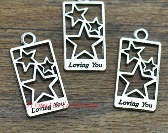 10 - Word Loving You Charms With Stars Rectangle Shape Antique Silver Tone Pendant 28x14mm