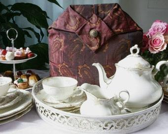 Exclusive Paisley pattern tea cosy, tea cozy, teapot cosy, teapot cozy, donkerrode theemuts