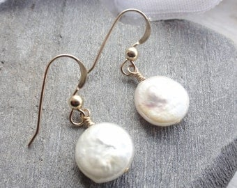 Fresh Water Coin Pearl and 14ct Gold Filled Earrings