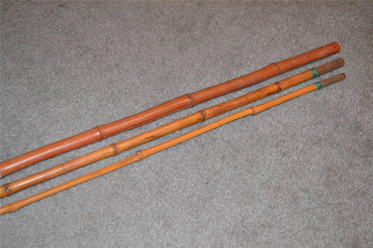 Vintage 3 pc bamboo 12 39 fishing rod ohhh sooo by for Antique bamboo fishing rods