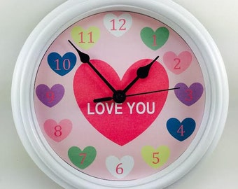 LOVE YOU Candy HEARTS Novelty Wall Clock