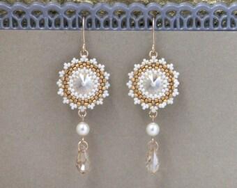 Crystal wedding earrings, Swarovski drop earrings, Champagne earring, Pearl dangle earrings, Pearl bridal earrings, Swarovski pearl earrings