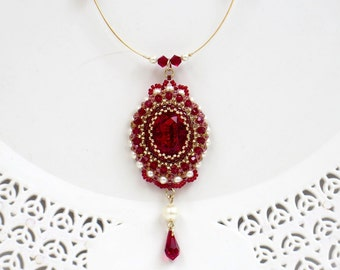 Red crystal necklace, Victorian necklace, Red statement necklace, Swarovski crystal necklace, Red and gold necklace, Burgundy necklace