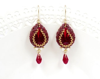 Red teardrop earrings, Red dangle earrings, Red drop earring, Victorian earrings, Swarovski drop earrings, Gift for wife, Red beaded earring