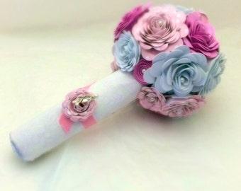 Breast Cancer Pink & White Handmade Paper Flower Bouquet