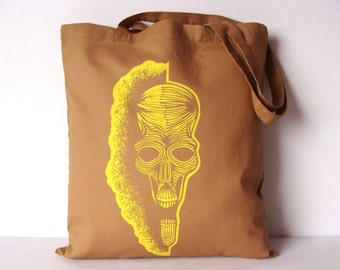 Skull tote bag, Canvas tote bag, Skull bag, Screen printing tote bag, Tote bag, Shopping