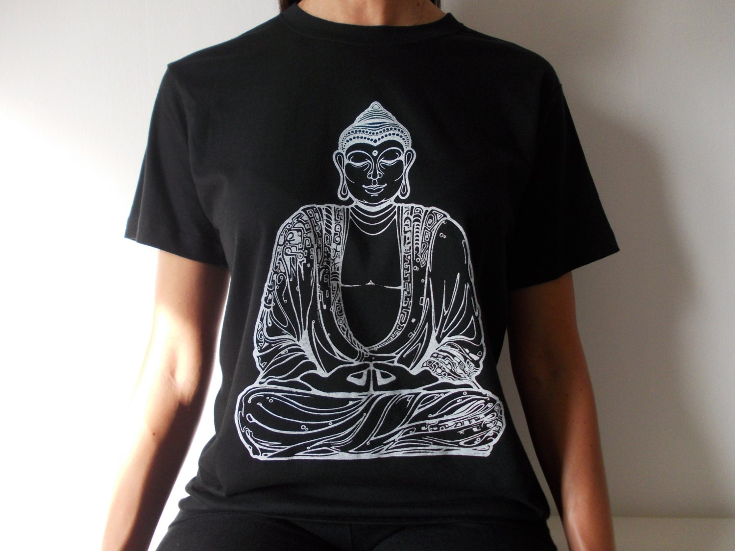 Buddha t shirt screen printed tee spiritual t shirt for Screen print on t shirts