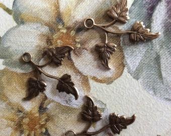 Antique brass leaf charms 25mm