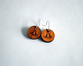 Handcrafted Libra Zodiac Earrings, Cherry Wood and Sterling Silver