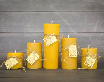 Beeswax Candles, Beeswax Pillar Candle Set, 5 All Natural Beeswax Candle Pillars