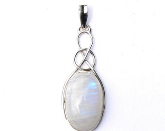 Stunning Rainbow Moonstone Sterling Silver Oval Knot Pendant