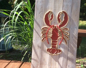 Handmade Lobster With Rope Beach Pallet Art Coastal Decor Rope Art Pallet Art Nautical Art