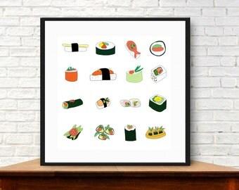Modern sushi, sushi wall art, digital download, fish art prints, sushi art, sushi collections, whimsical food, asian food collection