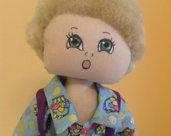 """Boy Doll, OOAK Cloth Doll """"Jack"""", 15"""" Handmade Display Doll, Purple Knee High Shorts with Suspenders, Easter Gift, Birthday Gift  #234"""