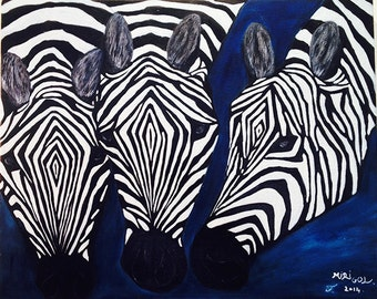 SECRETS- 3 ZEBRAS  unique and beautiful piece of art,oil on stretched gallery canvas Now*********** Free Shipping*********