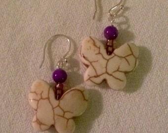 White Purple Butterfly Earrings