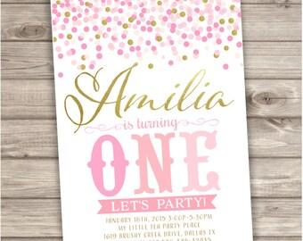 Confetti Birthday Printable Invitations Shabby Chic Pink Gold Glitter Theme Party girl First Birthday Download pdf jpeg NV702