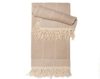 Herringbone Fouta towel beige set Tunisian linen hammam