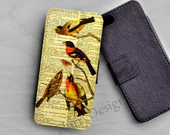Wallet leather case Cute Birds on Branch iPhone 6 /4 / 4s / 5 / 5s /5c, Samsung Galaxy S3 / S4 / S5 case, Galaxy Note 2, note 3, note 4 case